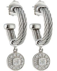 Alor - Double-cable Hoop Earrings W/ Diamond Drop - Lyst