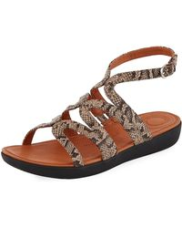 Fitflop - Strata Snake-print Leather Gladiator Sandals - Lyst