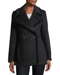 Belle By Badgley Mischka - Chiara Velvet Whipstitched Pea Coat - Lyst