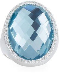 Roberto Coin - 18k White Gold Diamond & Topaz Ring Size 6.5 - Lyst