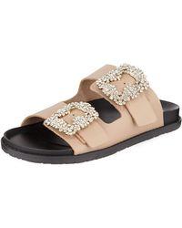 Neiman Marcus - Klip Leather Pool Sandal W/ Crystal Buckles - Lyst