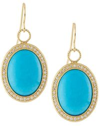 Jude Frances | 18k Oval Turquoise & Diamond Earring Charms | Lyst