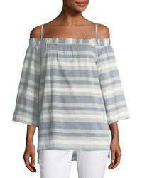 Tahari - Striped Off-the-shoulder Blouse - Lyst