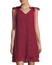 Nanette Nanette Lepore - Lace Pleat-hem Shift Dress - Lyst