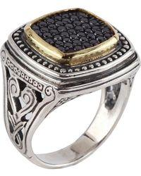 Konstantino - Asteri Ornate Square Pave Black Diamond Ring - Lyst