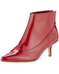 Halston - Tiana Patent Leather Booties - Lyst
