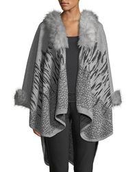 Neiman Marcus - Faux-fur Collar Printed Scarf - Lyst