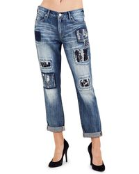 True Religion - Cameron Jacquard Patch Distressed Straight-leg Jeans - Lyst