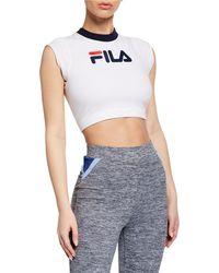 a11d2727420 Fila - Pia Stretch-cotton Crop Top - Lyst