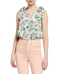 Moon River Floral-print Cropped Tie-shoulder Gathered Top