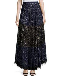 Saloni - Karen Pleated Lace Maxi Skirt - Lyst