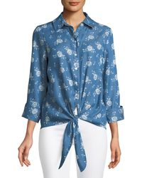 Neiman Marcus - Chambray Rose Tie-front Blouse - Lyst