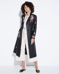 BCBGMAXAZRIA - Floral-embroidered Faux-leather Trench Coat - Lyst