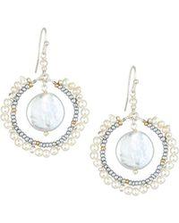 Nakamol - Pearl Frame & Hoop Drop Earrings - Lyst