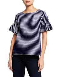 Sail To Sable - Stripe Ruffle-sleeve Top - Lyst