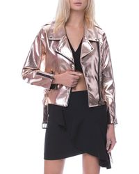 English Factory - Shiny Champagne Motorcycle Jacket - Lyst