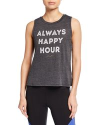 Betsey Johnson - Always Happy Hour Graphic Muscle Tank - Lyst