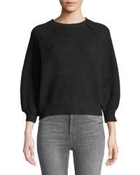 Sweet Romeo - Waffle-knit Balloon-sleeve Cropped Sweater - Lyst