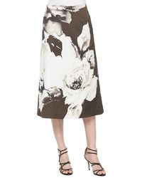 Lafayette 148 New York - Zarita Vintage Roses Printed Tea-length Skirt - Lyst
