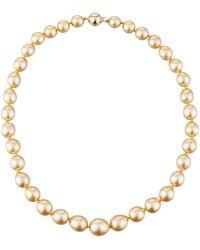Belpearl | 14k Graduated Golden Drop South Sea Pearl Necklace | Lyst