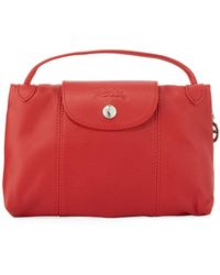 24bb907800ce Lyst - Longchamp Le Pliage Cuir Leather Handbag in Pink