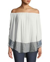 XCVI - Off-the-shoulder Lace-up Sleeve Blouse With Linen Hem - Lyst