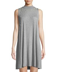Neiman Marcus - Mock-neck Pearly-trim A-line Dress - Lyst
