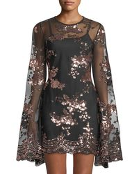 Haute Rogue - Liona Sequined Bell-sleeve Illusion Dress - Lyst