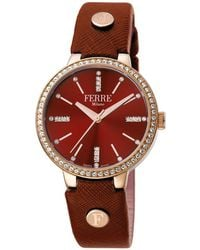 Ferrè Milano - Women's 34mm Stainless Steel 3-hand Glitz Watch With Leather Strap - Lyst