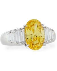 Fantasia by Deserio - Oval Cz Cocktail Ring W/ Stepped Baguettes - Lyst