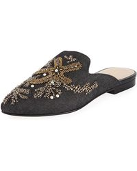 Andre Assous - Karl Embroidered Denim Flat Mule - Lyst
