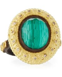 Armenta | Old World Oval Topaz & Malachite Doublet Stacking Ring W/ Champagne Diamonds | Lyst