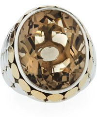 John Hardy - Batu Dot Large Oval Smoky Quartz Cocktail Ring - Lyst