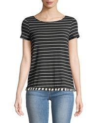 Casual Couture - Striped Fringe-hem Tee - Lyst