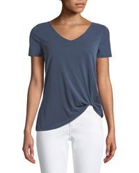 Casual Couture - Short-sleeve V-neck Twisted-hem Tee - Lyst