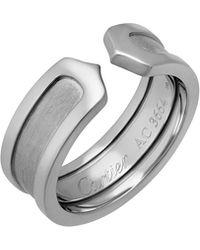 Cartier - Estate Logo De 18k White Gold Double-c Ring - Lyst
