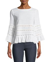 Tahari - Taner Lace-trimmed Bell-sleeve Blouse - Lyst
