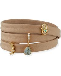 Tai - Leather Wrap Bracelet With Charms Beige - Lyst