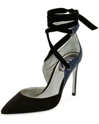 Rene Caovilla - Two-tone Crystal-back Ankle-wrap Pumps Black/blue - Lyst