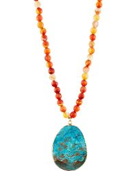 Panacea | Long Beaded Agate & Jasper Pendant Necklace | Lyst