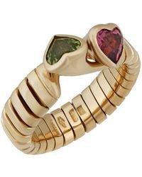 BVLGARI - 18k Yellow Gold Double Heart Ring - Lyst