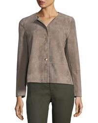 Lafayette 148 New York - Tansy Snap-front Suede Jacket - Lyst