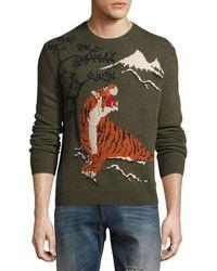 Ralph Lauren - Tiger Intarsia Wool-cashmere Sweater - Lyst