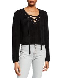 e05ec07af8 Kendall + Kylie - Long-sleeve Lace-up Cropped Sweater - Lyst
