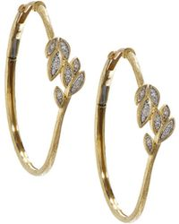 Jude Frances - 18k Pave Diamond Leaf Hoop Earrings - Lyst