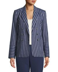 Laundry by Shelli Segal - Belted Linen Double-breasted Blazer - Lyst