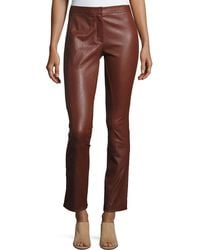 Theory - Riding Fitted Straight-leg Lamb Leather Pants - Lyst