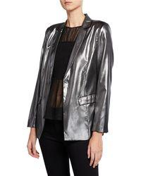 Nicole Miller - Metallic Button-front Structured Blazer - Lyst