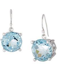 Elizabeth Showers - Rhodium-plated Silver Crown & Stone Drop Earrings In Blue Quartz - Lyst