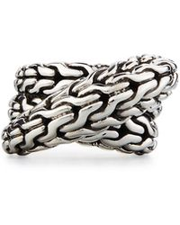 John Hardy - Classic Chain Silver Overlap Ring - Lyst